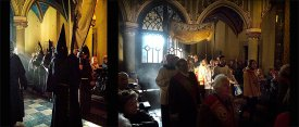 In Franciscan Church - Lent, Confraternity of the Passion walks from the Chapel, spring sun rays are moving incense curtains...