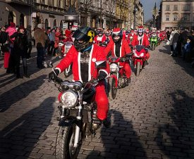 Santa Clauses - they have just arrived to Kraków Main Square - dresses in red suits, hats, and with long white beards - everything exactly as shoul be!